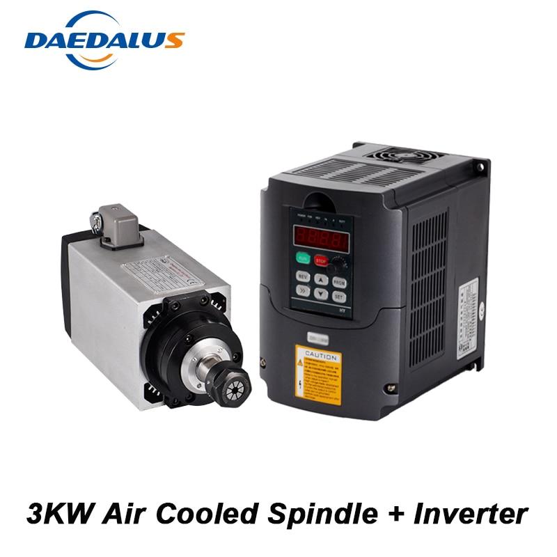 CNC moteur de broche de fraisage 3KW broche refroidie par Air 4 roulements VFD onduleur convertisseur fréquence Variable broche contrôle de vitesse