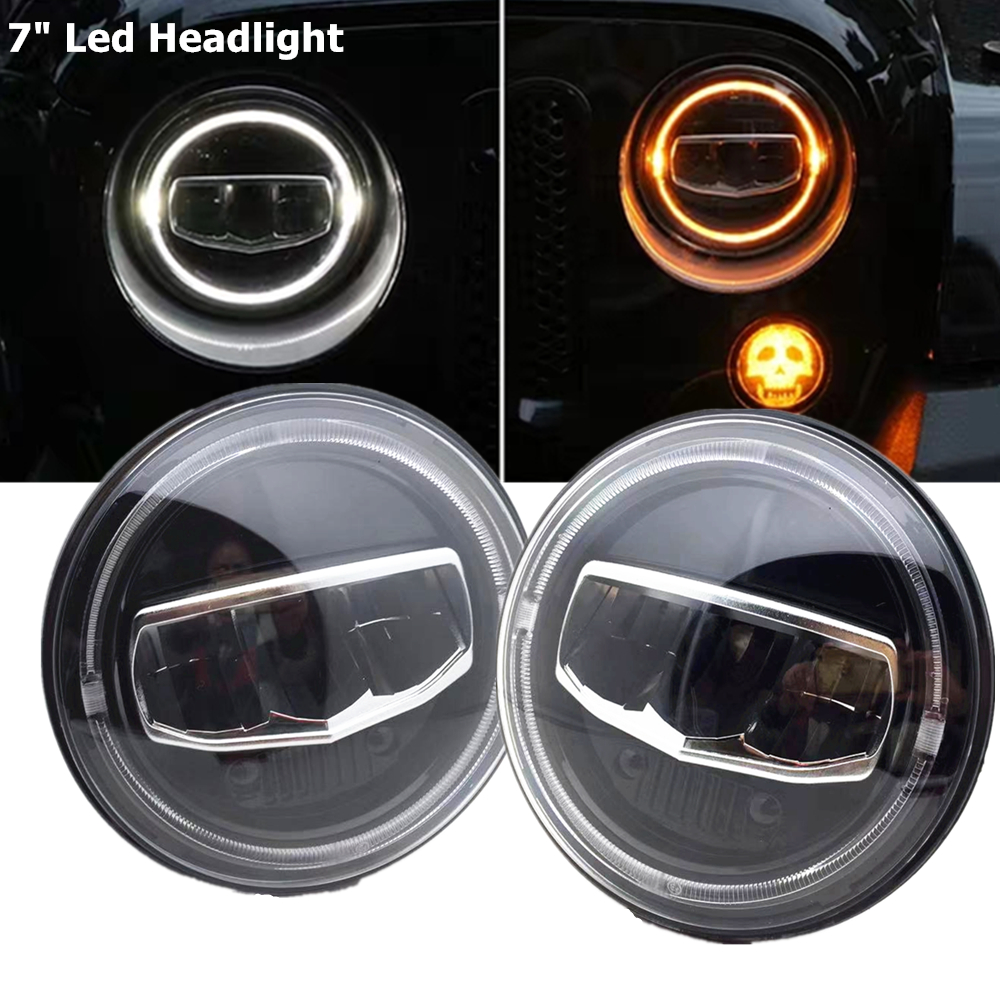 New Car accessories 7 Inch Led Headlights DRL Halo Amber Turn Light for Jeep Wrangler JK