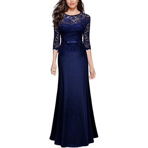 2019 New Arrival Navy Blue Mother Of Bride Dress Half Sleeves Illusion Lace Formal Party Dress Long vestido de madre de la novia Islamabad