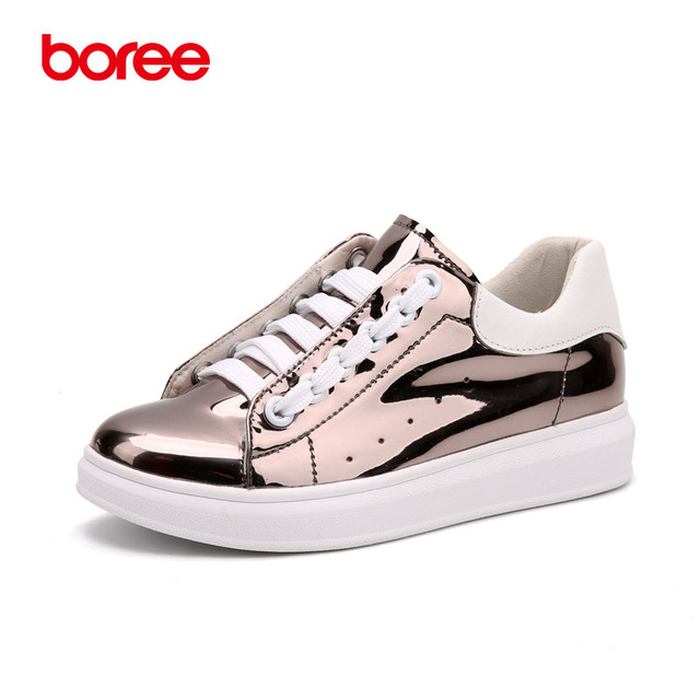 Boree Spring Women's Fashion Casual Shoes, Height Increasing Platforms Golden, Breathable Fabric, Zapatos Mujer Solid Shoes 460