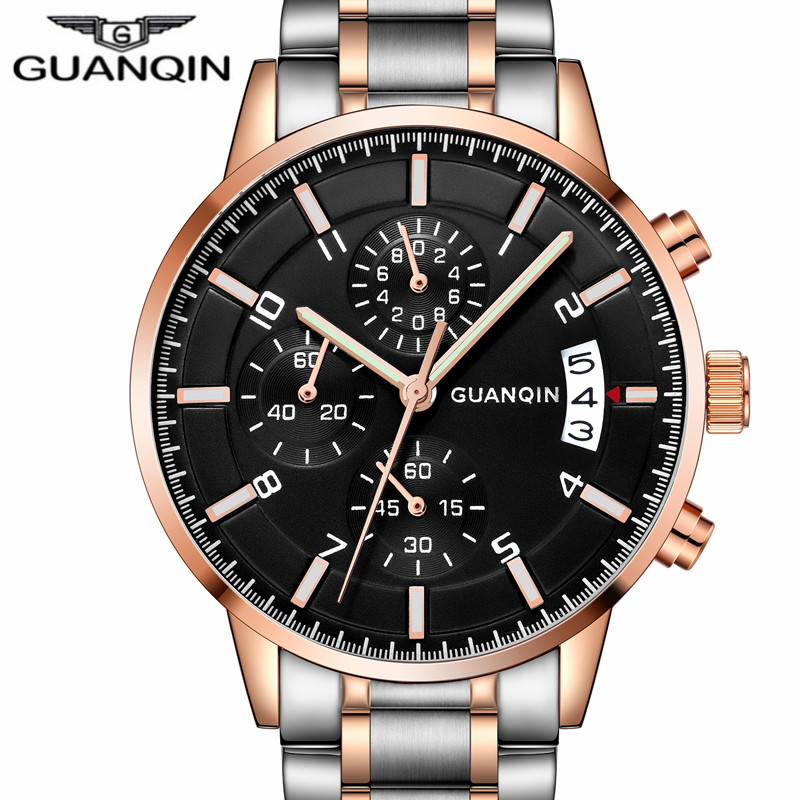 GUANQIN Mens Watches Top Brand Luxury Chronograph Male Business Quartz Watch Men Sport Stainless Steel Clock relogio masculino luxury brand jedir male watches chronograph stainless steel quartz watch men business waterproof wrist watch relogio masculino