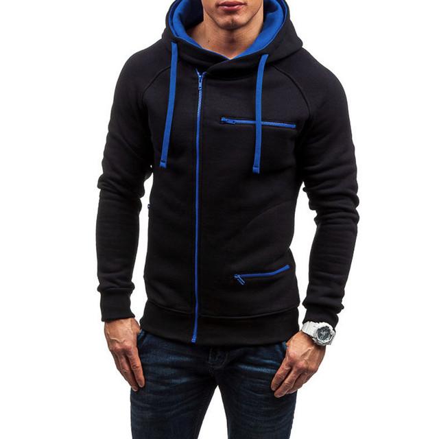 Men's Long Sleeve Hoodie Sweatshirt Tops Autumn Winter Casual Zip Up Outerwear Sweatshirts sudaderas para hombre Men Clothes