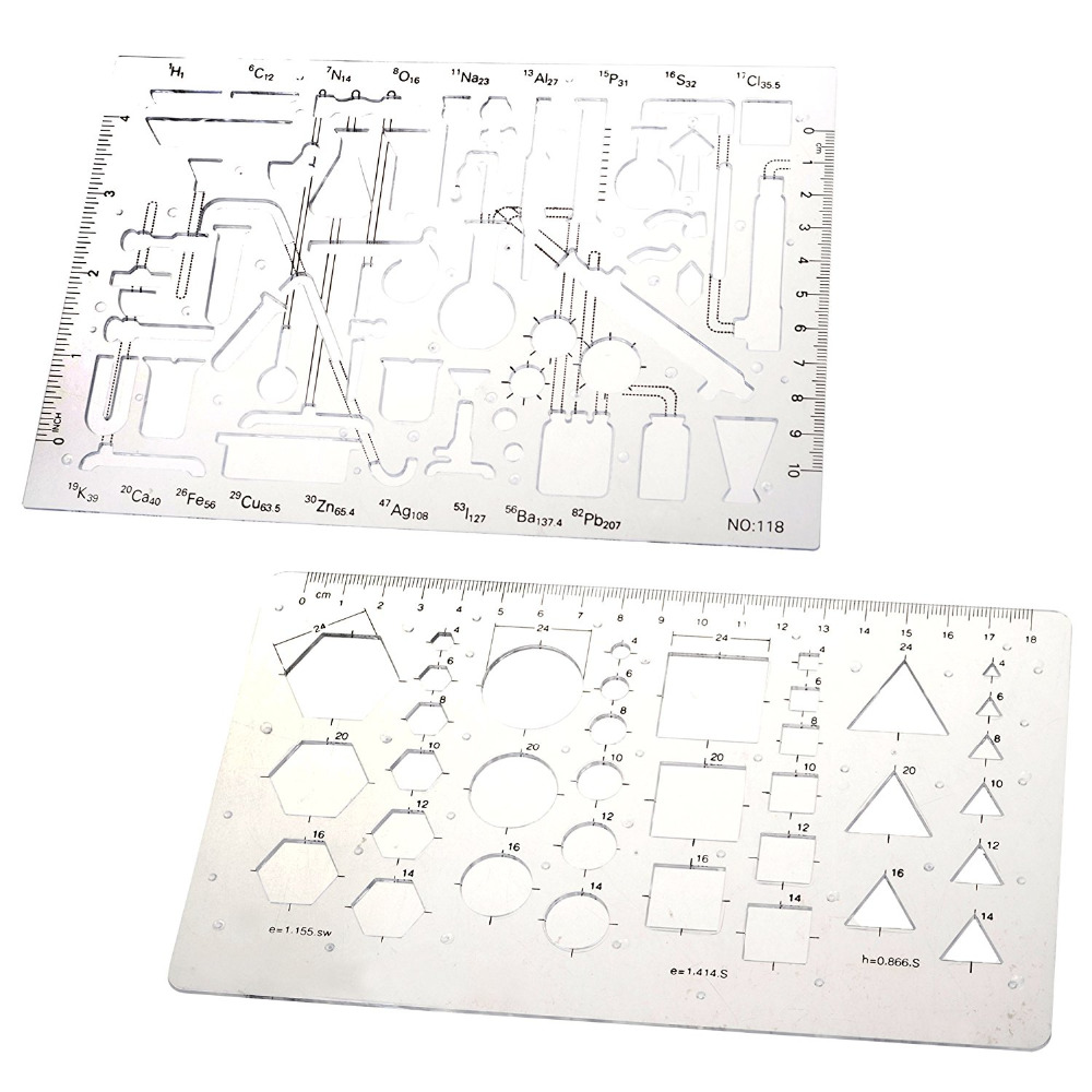 major brushes chemistry school student plastic stencil template school