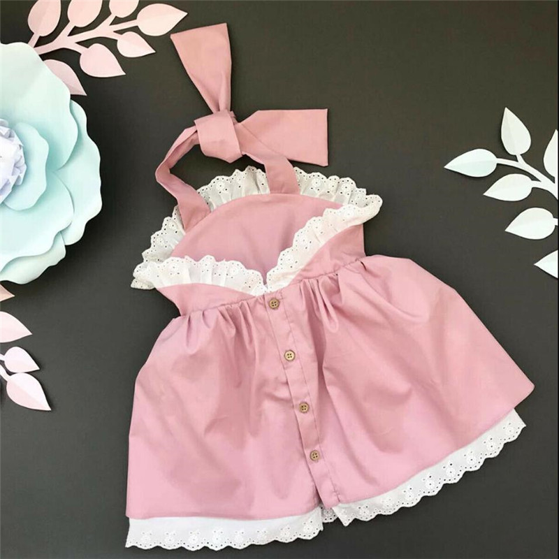 6M-4Y Lovely Kids Baby Girls Summer Lace Dress Sleeveless Halter Belt Party Princess Dresses Backless Button Baby Girl Sundress