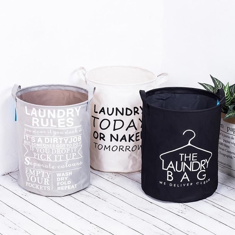 Fashion Fabric Laundry Basket Bag Dirty Pouch Folding Laundry Storage Basket Bracelet Waterproof Laundry Bag Bathroom Product