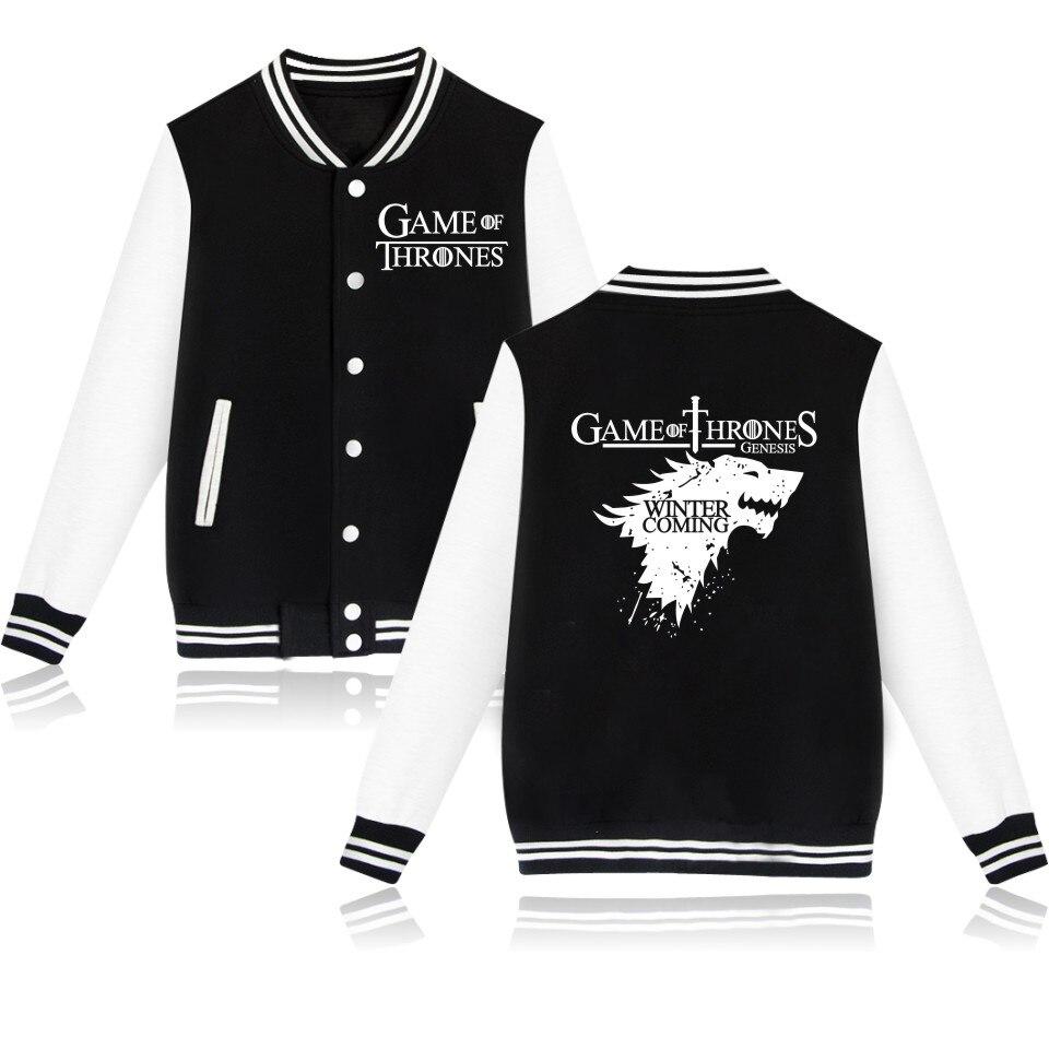 Game Of Thrones Men Winter Baseball Jacket Women Winter Jacket Cool Style Print Jacket Winter Long Warm