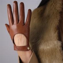 Touchscreen couro genuíno mulher luvas pele de carneiro pura locomotiva expondo a parte de trás da mão estilo curto náilon forrado tb94