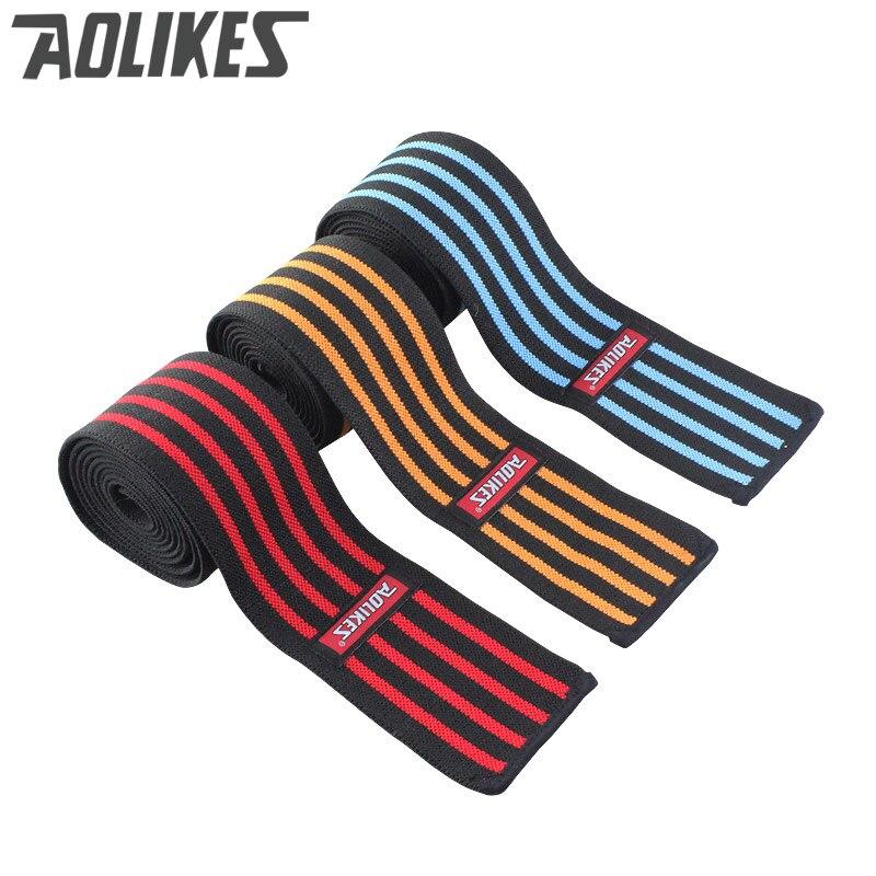 AOLIKES 1 pcs 200*8 CM Genou Wraps Hommes de Fitness Haltérophilie Sport Genou Bandages Squats Matériel de Formation accessoires pour Gym