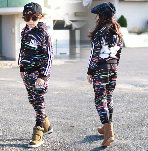 2016 spring Autumn children's clothing set Costumes kids  suits doodle lines Strip Hip Hop harem pants & sweatshirt twinset цены онлайн