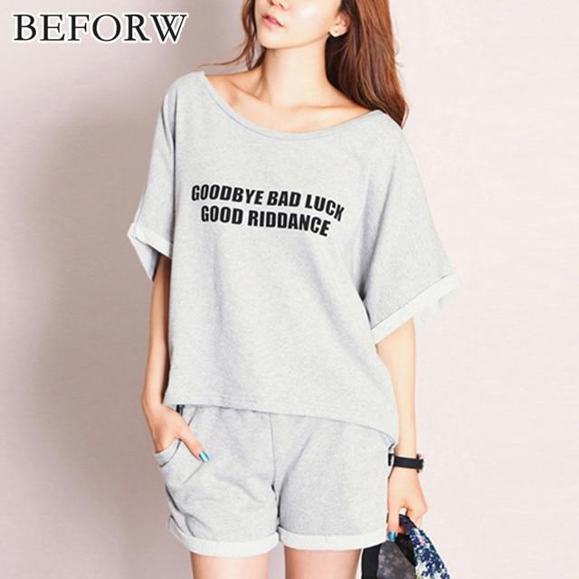 6ed7fb10ea BEFORW Summer Cotton Women Pajamas Shorts Sexy Solid Alphabet Pajama Set  Comfortable Breathable Sleepwear Shorts Cute Homewear