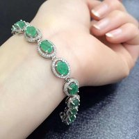 2017 Sale Qi Xuan_Fashion Jewelry_Colombia Green Stone Fashion Bracelets_S925 Solid Silver Bracelet_Factory Directly Sales