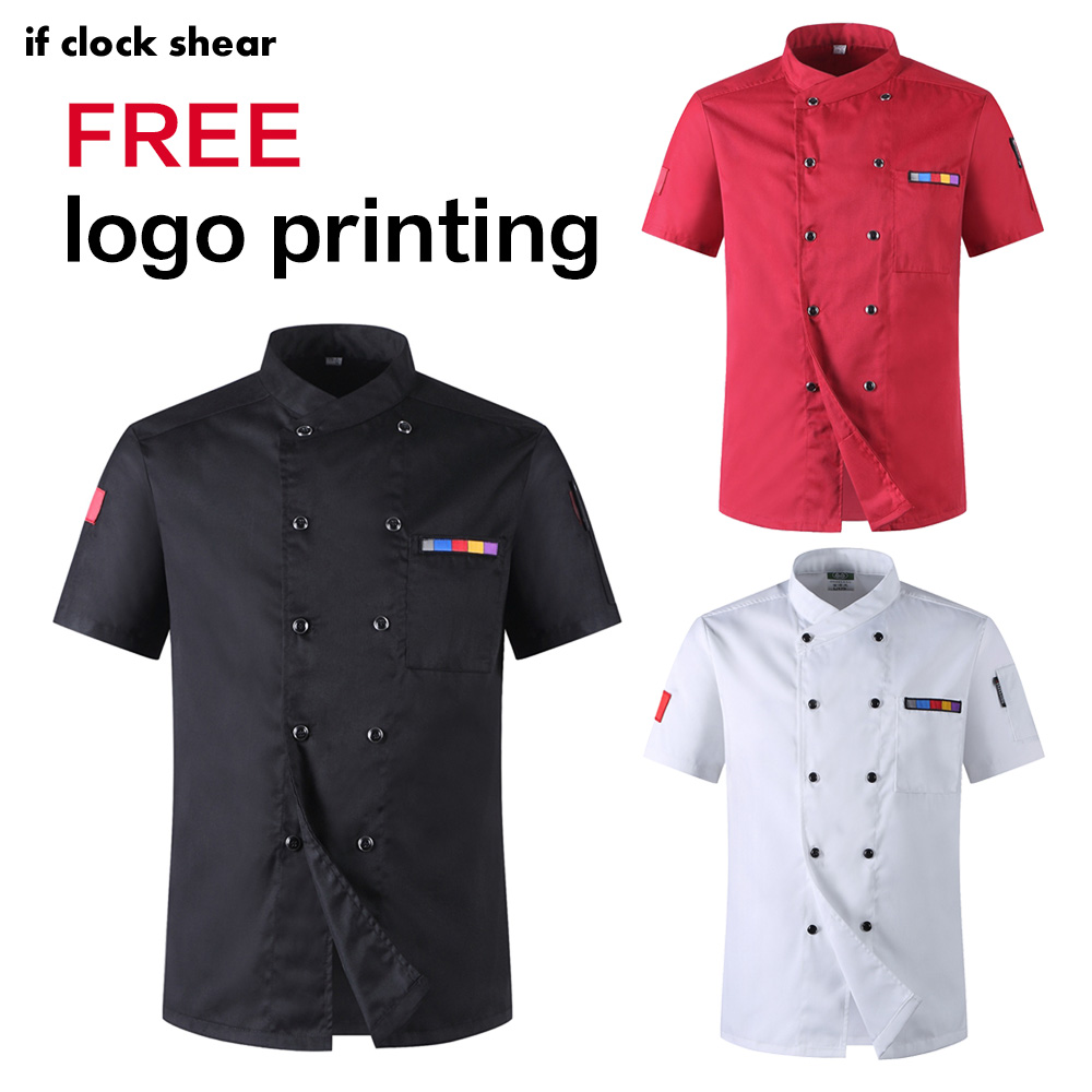 New Wholesale Unisex Kitchen Chef Restaurant Uniform Shirt Service Bakery Breathable Short Sleeve White Chef Dress Chef Jackets