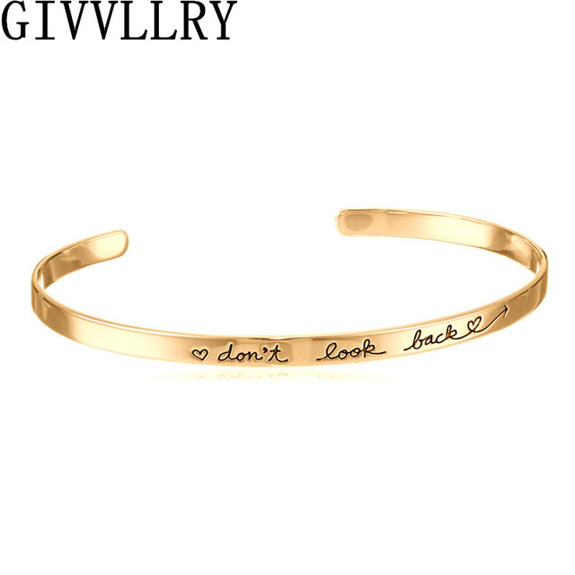 """Carving Letter """"Don't Look Back"""" Simple Creative Courage Inspirational Bangles Gift Bijoux Pulseras Opening Bracelet Jewelry"""