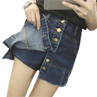 2017 summer slim skirts womens high waist denim skirt shorts jeans korean style a line mini short skirts single breasted saia