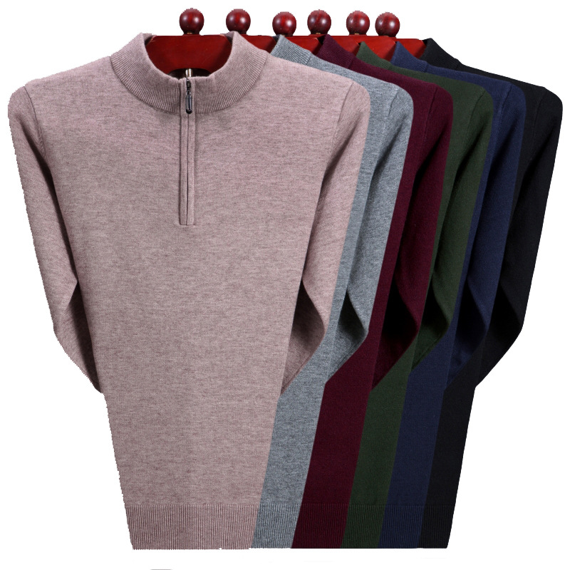 Mens Sweaters 2019 Pullovers Turtleneck Men Wool Sweater Men Clothes Mens Casual Slim Solid Men Winter Clothes Spliced Zipper