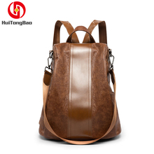Women Bag Anti-theft Backpack Female Fashion Versatile Reversing Dual-use Soft Leather Travel Purse