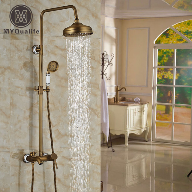 Antique Brass Ceramic Wall Mount Bath Shower Faucet Set Single