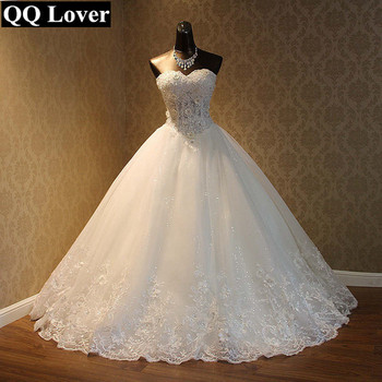 QQ Lover 2019 Elegant Luxury Lace Wedding Dress Vintage Plus Size Ball Gowns Vestido De Noiva 2
