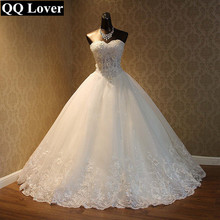 QQ Lover 2018 Elegant Luxury Lace Wedding Dress Vintage Plus Size Ball Gowns Vestido De Noiva