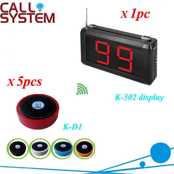 Modern Service Equipment Table call ordering systems 1 number screen work with 5pcs bell buzzer 2 receivers 60 buzzers wireless restaurant buzzer caller table call calling button waiter pager system