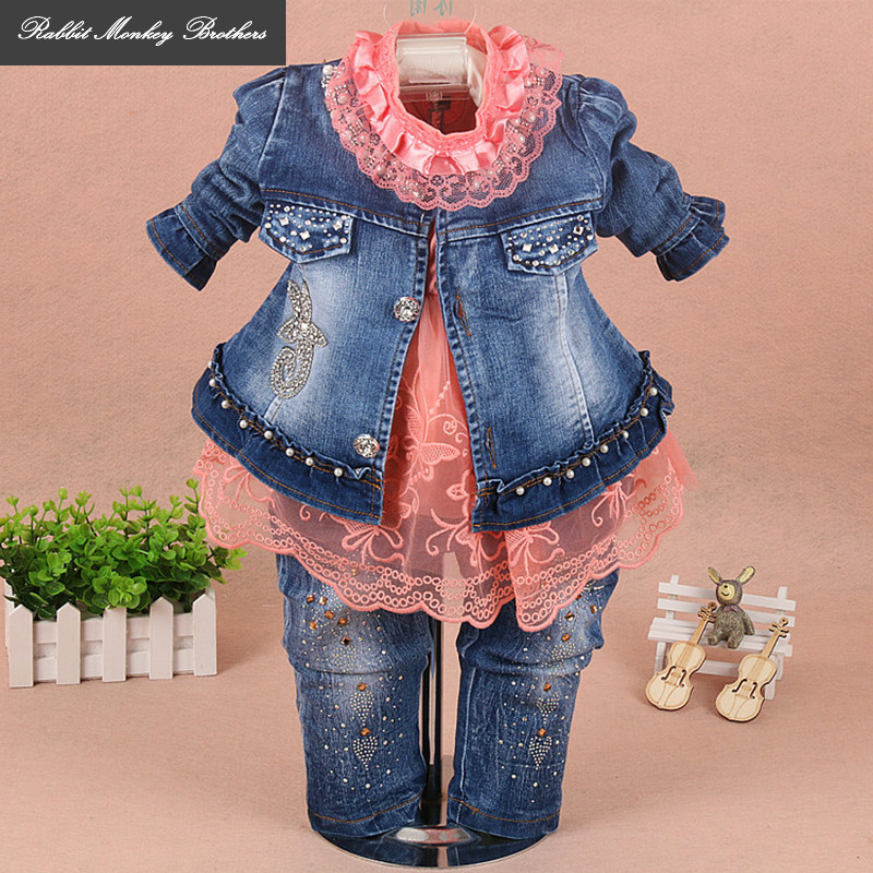 RMBkids Spring and Autumn baby girl clothes Flowers lace denim three piece set suit for 0-3 years old infant baby girl outfit