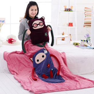 Plush giant pillows Hwd pillow quilt dual-use cushion coral fleece air blanket large Giant pillow Christmas Birthday Gift lovely giant panda about 70cm plush toy t shirt dress panda doll soft throw pillow christmas birthday gift x023