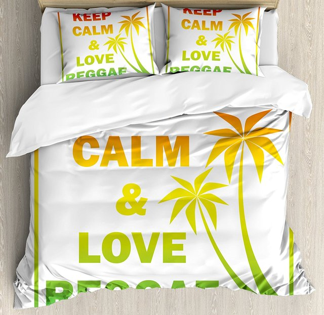 Rasta Duvet Cover Set Keep Calm And Love Reggae Quote In Ombre Rainbow Colors Music Themed