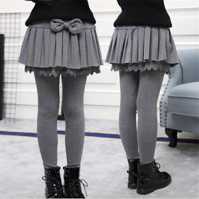Girls Leggings Autumn Girls Clothing Velvet Pant Pleated Skirt For Girl School Teenagers Kids Skirt-Pants Cake Children Clothing