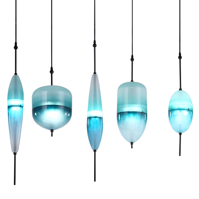все цены на  Modern LED Art deco Huse Gradient Glass Pendant Lamps Venice design Flow T Lake Blue glass pendant light Cafe Bar Lights  онлайн
