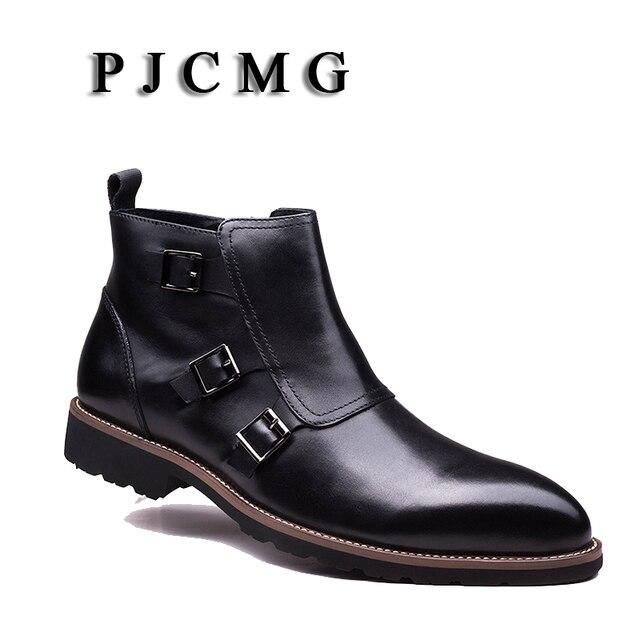PJCMG Yeni Arrivale Hakiki Deri Toka Kayış Katı Qedding Için Sivri Burun Bilek Elbise Boots Erkekler Ayakkabı Erkek Iş