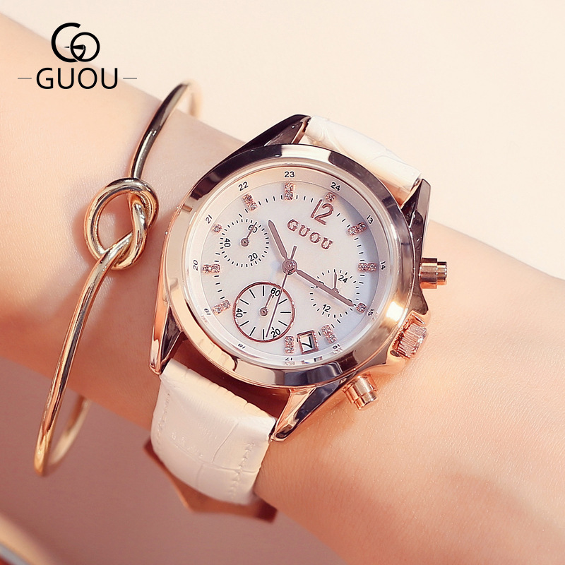 2018 New Fashion GUOU Crystal Rose Gold Genuine Leather Quartz Wrist Watch Wristwatches for Women Ladies Girls Black White genuine guarantee hongkong new cher gold partner 123 suit rose essence page 8