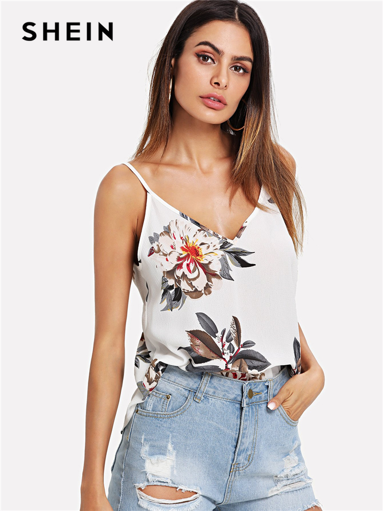 959232f2ef31e6 SHEIN Beige Vacation Sexy Backless Boho Bohemian Beach Double V Neck Floral  Print Cami Top Summer Women Casual Vest-in Camis from Women s Clothing on  ...