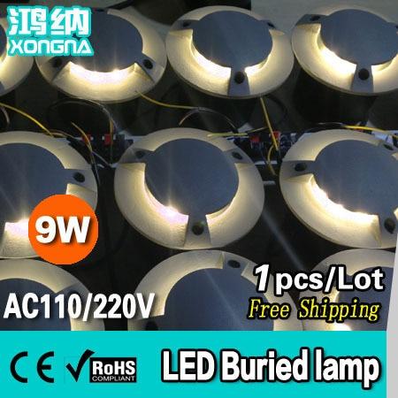 ФОТО Free Shipping, AC85~265V High Power 9W LED Underground Lamp LED Buried Light Waterproof, 2 Years Warranty
