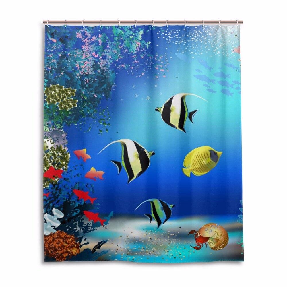 Ocean shower curtains - Fish Shower Curtain Ocean Waterproof Mildewproof Bathroom Curtains Bath Curtains With 12 Hooks Gift Shower Curtains
