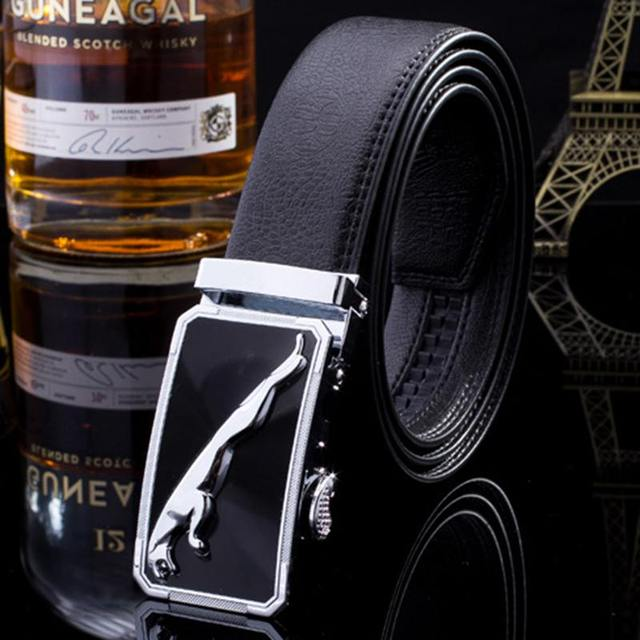 2016 Hot sale silver automatic buckle jaguar men's belt luxury designer waist girdle high quality strap cintos jeans c012
