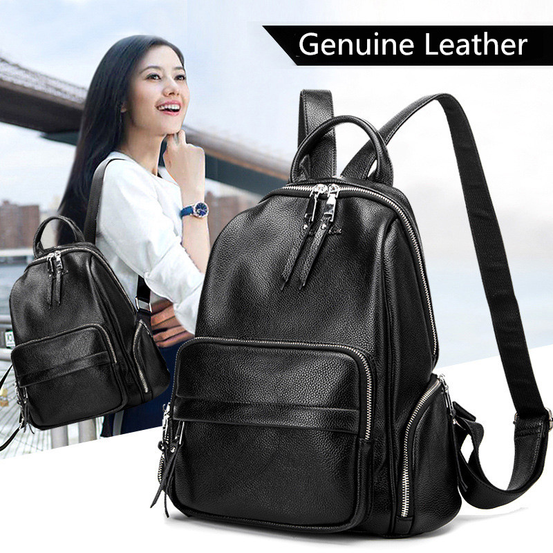 High Quality Women Backpacks Style Genuine Leather Women Backpack Fashion Solid School Bags For Teenager Girls Casual