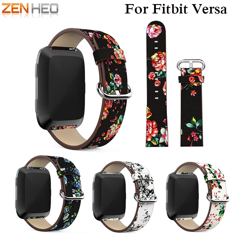 ZENHEO Leather strap Replacement For Fitbit versa Floral Printed Flower wrist bands Bracelet watchband belt For Fitbit versa fitbit watch