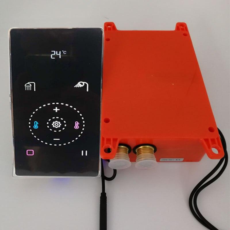 Tela de toque preto válvula misturador do chuveiro termostática inteligente painel do chuveiro digital 2/3 funções desviador mistura torneira parede esconder