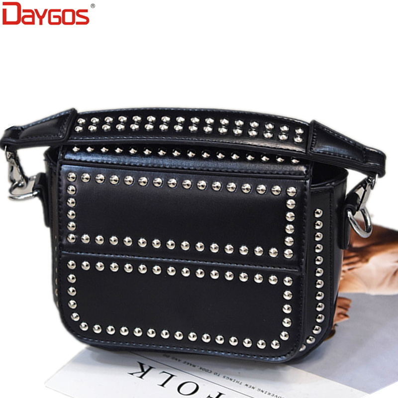 ФОТО 2017 Time-limited Punk Rivet Women Messenger Bags Pu Female Shoulder Bags Handbags Women Famous Brands Bolsa Feminina
