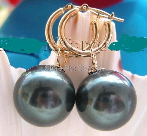 Großhandel kostenloser versand>> Natur 14mm Tahiti Schwarz Runde Sea Shell Perle Ohrringe