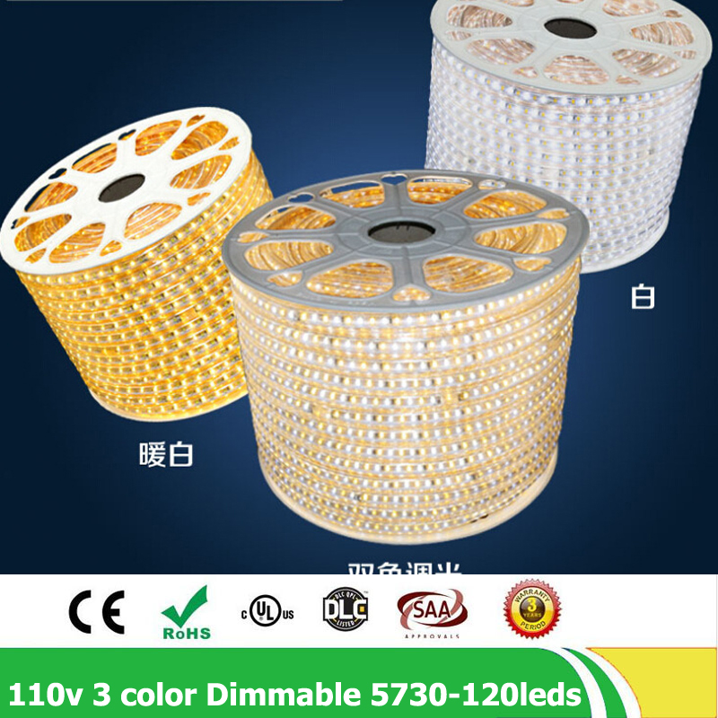 50m/lot AC110V SMD5730 led strip 5630 natural white 3 color Change Dimmable flexible tape light IP67 waterproof with controller