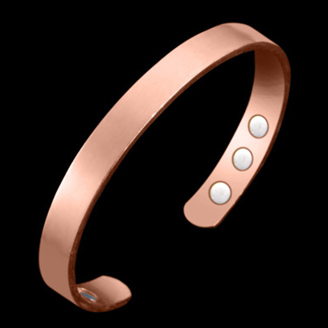 Magnetic plain copper healing bio therapy arthritis pain relief bangle cuff bracelet