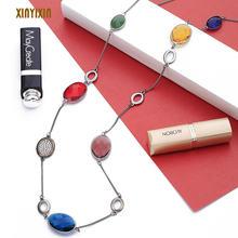 Красочное красное синее желтое стекло длинное ожерелье для женщин
