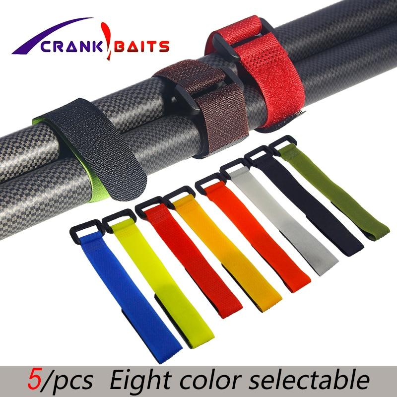 Reusable Fishing Rod Tie Holder Strap Suspenders Fastener 5pcs Random Hook Loop Cable Cord Ties Belt Fishing Accessories YB329-5