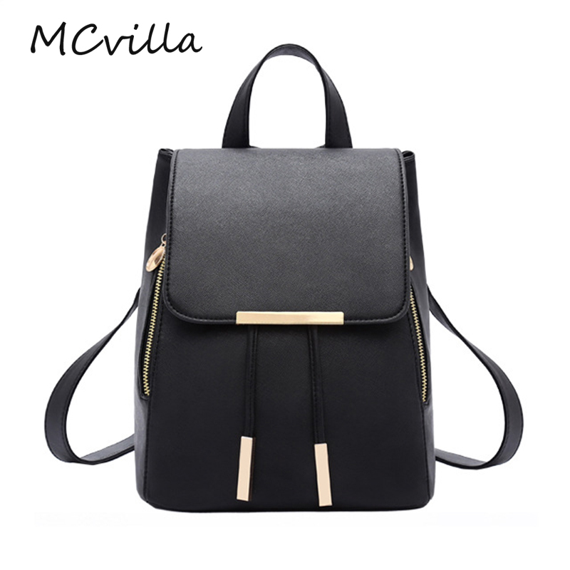 MCvilla Women Backpack PU Leather Mochila Escolar School Bags For Teenagers Girls Top-handle Backpacks Herald Fashion women backpack high quality leather mochila escolar school bags for teenagers girls top handle backpacks herald fashion