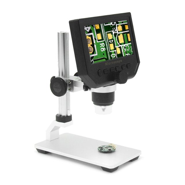 """600X 4.3"""" 3.6MP Digital Video Microscope LED Magnifier for Mobile Phone Maintenance QC/Industrial/Collection Inspection +Stand"""