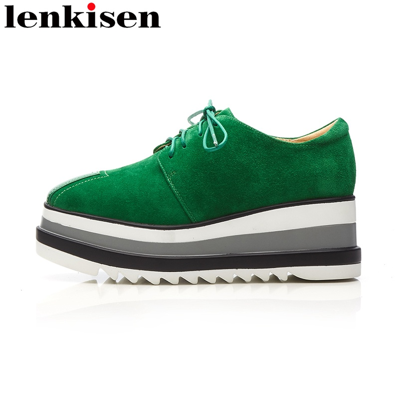 Lenkisen 2018 round toe lace up genuine leather platform brand spring causal shoes wedges handmade preppy style women pumps L25