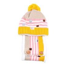 Unisex Fashion Autumn Winter Warm Twin Set Scarf Hat Baby Children Hat Knitted Hat Beanie