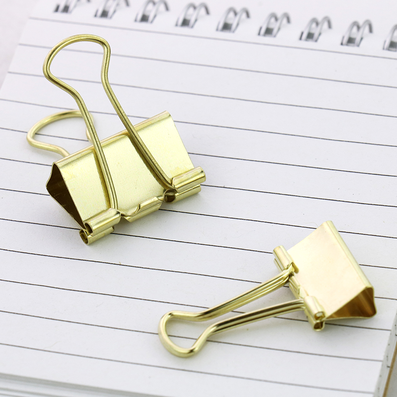 TUTU 10pcs/lot Solid Color Rose Gold Metal Binder Clips Notes Letter Paper Clip Office Supplies H0059 5