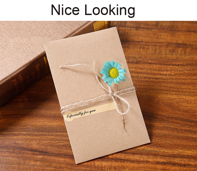 Us 13 99 Vintage Kraft Wedding Invitations Elegant Cards With Handmade Dry Flower Envelop Set Greeting For Decor In
